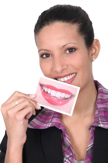 woman smiling and showing a perfect smile picture