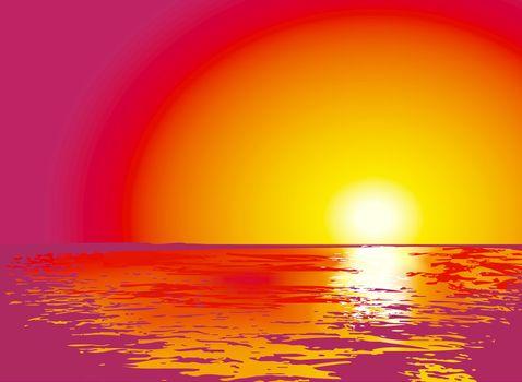 sunset or sunrise on sea, illustrations