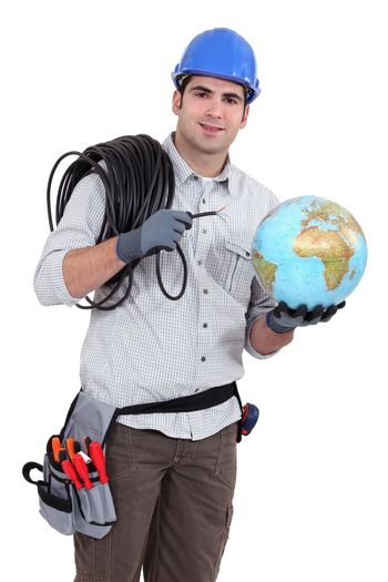 Electrician wiring the world