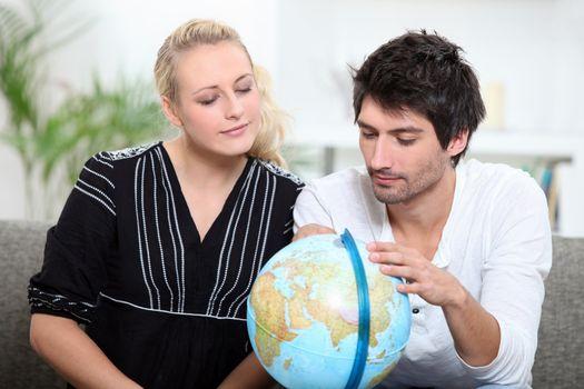 couple organizing travel