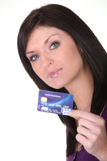Woman with a debit card