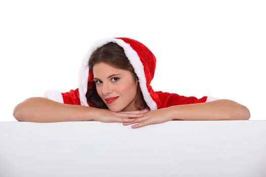 Woman with Christmas layer
