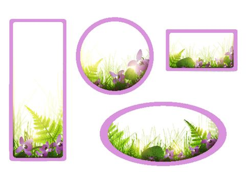 banners with viola flowers and meadow over white