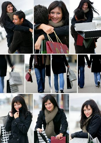 Montage of a couple shopping