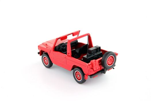 Scale model of red of road vehicle