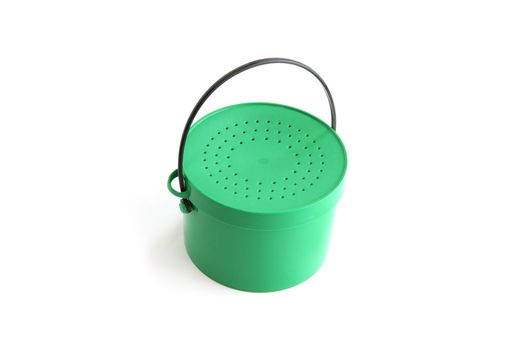 Tin bucket with a perforated lid