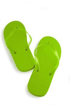 Bright green flip-flops