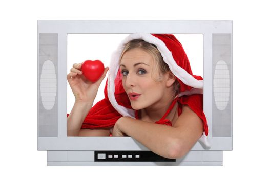 alluring mother Christmas advertising for TV set