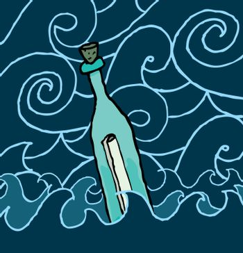 Message in a bottle drifting the night sea