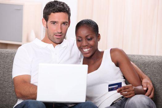 Couple buying on-line