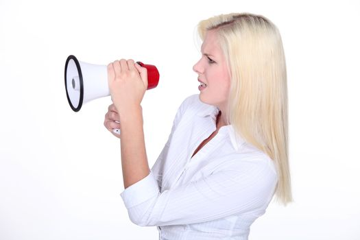 Young woman with bullhorn