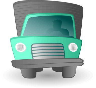 Cartoon truck driver / Land transportation vehicle