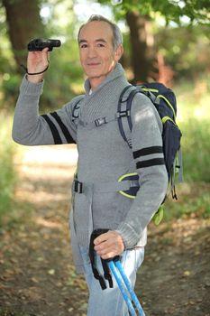 Man on a hiking trip
