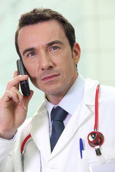 Doctor listening urgent message