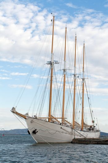 Tall ship in a harbour