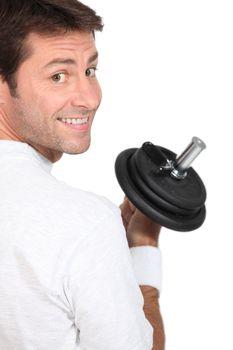 Man doing weight training