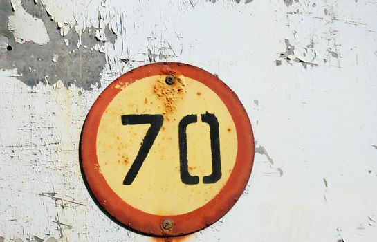 speed limit 70,old sign