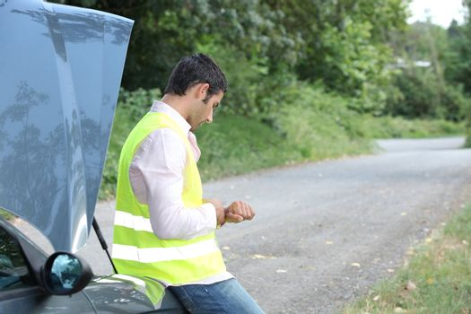 Man with a car breakdown