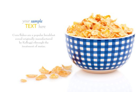 Cornflakes in a porcelain bowl, isolated on white background. wi