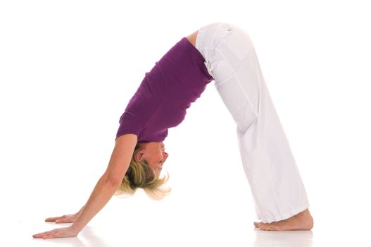 woman practicing stretching