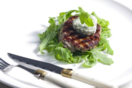 grilled beefsteak with herbal butter