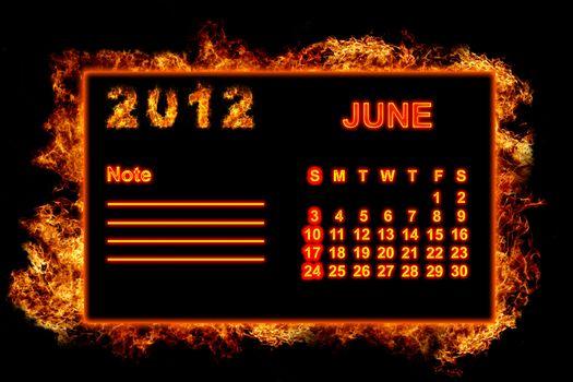 Fire frame calendar, June 2012