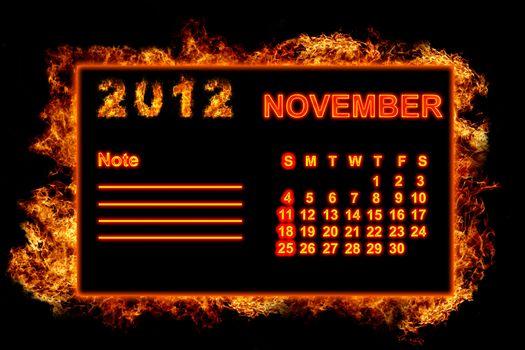 Fire frame calendar, November 2012