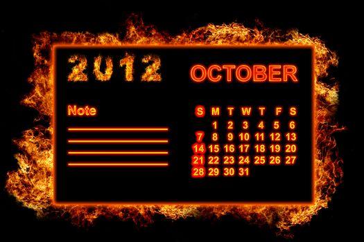 Fire frame calendar, October 2012