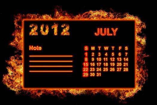 Fire frame calendar, July 2012
