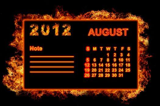 Fire frame calendar, August 2012