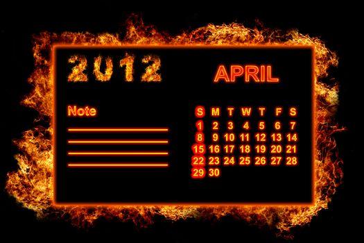 Fire frame calendar, April 2012