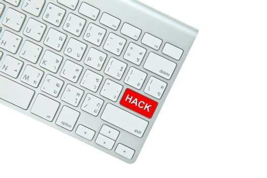 Red hack button on computer keyboard isolated on white backgroun
