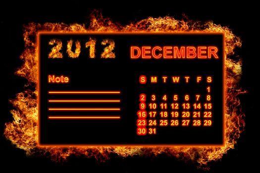 Fire frame calendar, December 2012