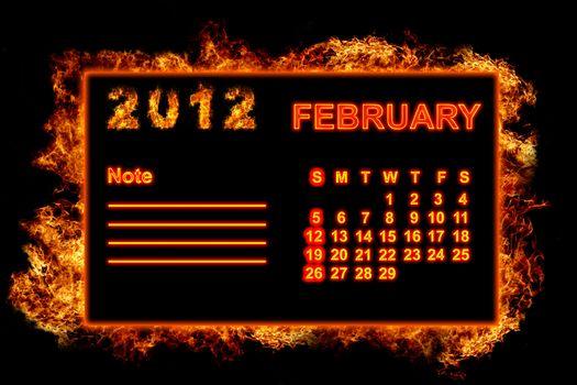 Fire frame calendar, February 2012