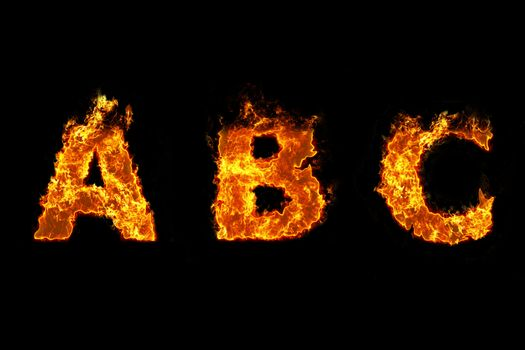 Fire on letter A B C