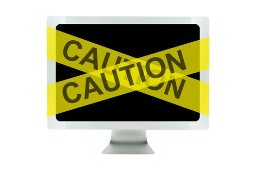 Computer with yellow caution tape