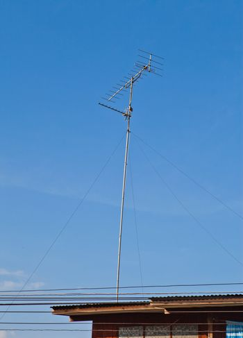 Television and radio antenna on the roof