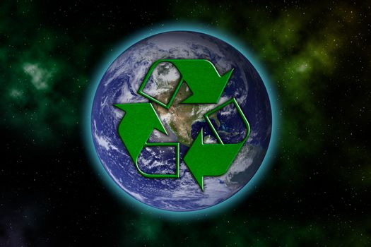 Recycle logo with earth