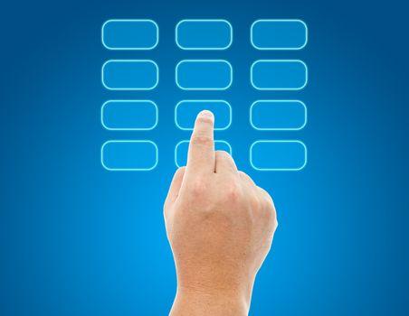 Hand push transparent buttons
