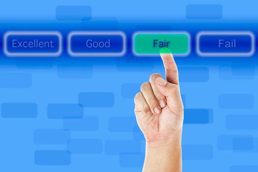 The hand push fair button