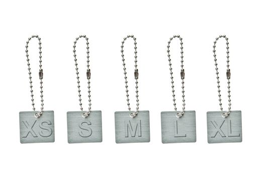 Set of silver metal tag with cloth size sign
