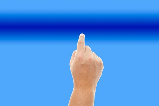 Human hand touching the blue background