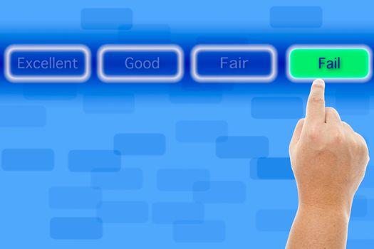 The hand push fail button
