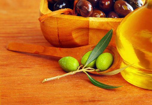 Close-up on olives