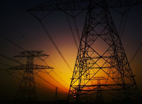 Electricity Pylons over sunset
