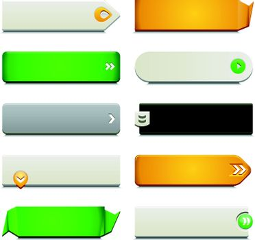 Ten call to action buttons, with different styles and shapes. Made with Global Swatches.