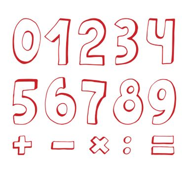 set of red numbers on white background