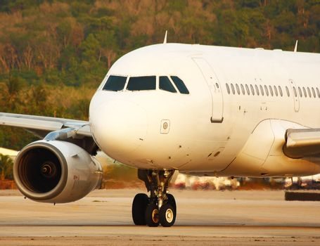 Airplane Taxiing Ready For Take Off