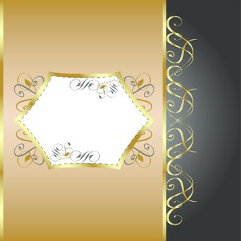 Holiday vector Background. Greeting Card. Gold flower Background