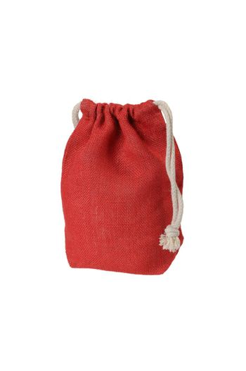 Red decorative rag bag with ropes for tying. Isolated on white.